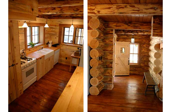 Chama, NM log cabin entry and kitchen