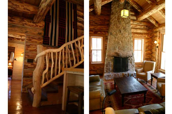Rustic cabin construction with stone fireplace