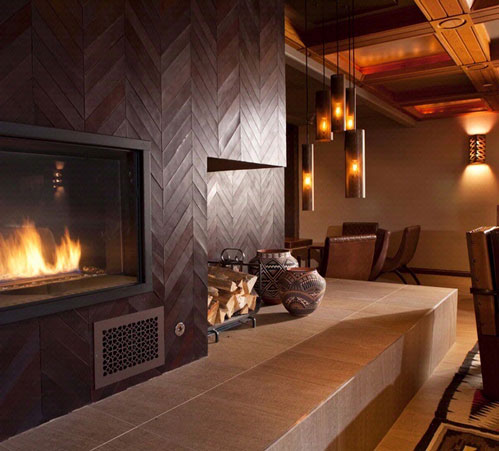 Leather wall and fireplace detail