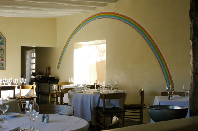 Canyon Road restaurant - rainbow design in plaster.