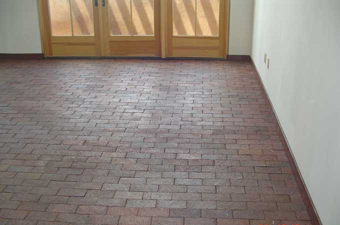 Affordable new brick flooring. Good for additional thermal mass that helps to regulate the heat and cold of your home.